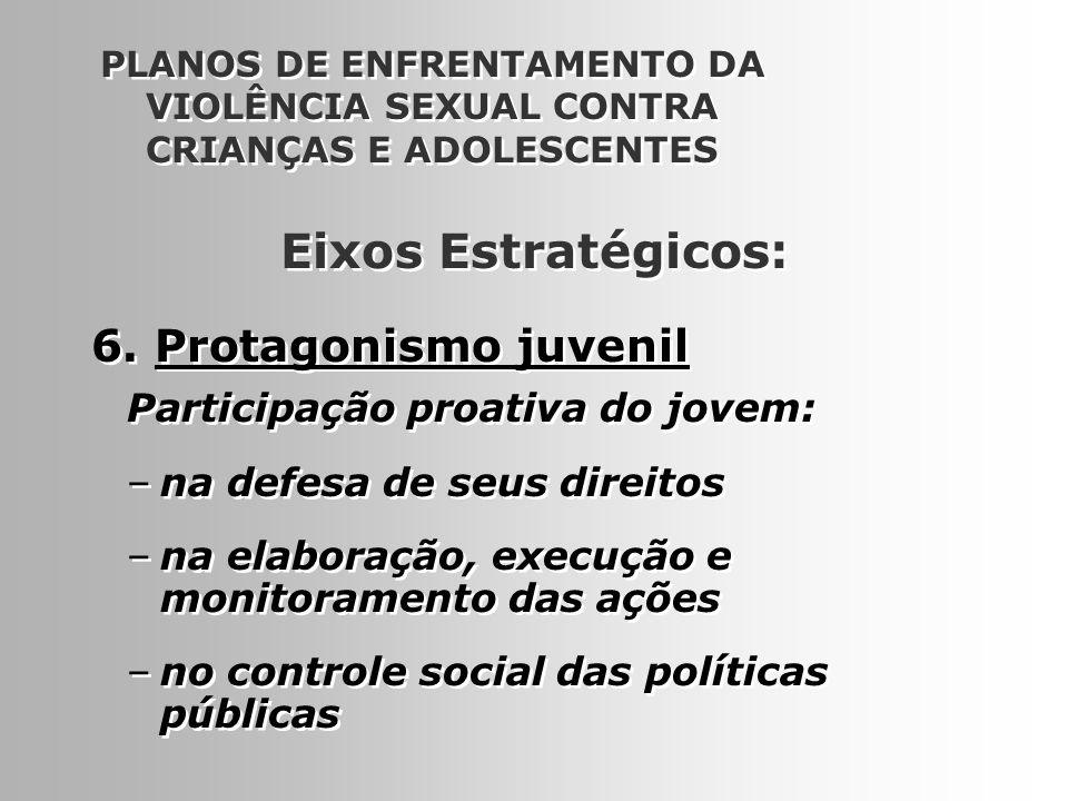 15 6. Protagonismo juvenil PLANOS DE ENFRENTAMENTO DA VIOLÊNCIA SEXUAL CONTRA CRIANÇAS E ADOLESCENTES Participação proativa do jovem: –na defesa de se