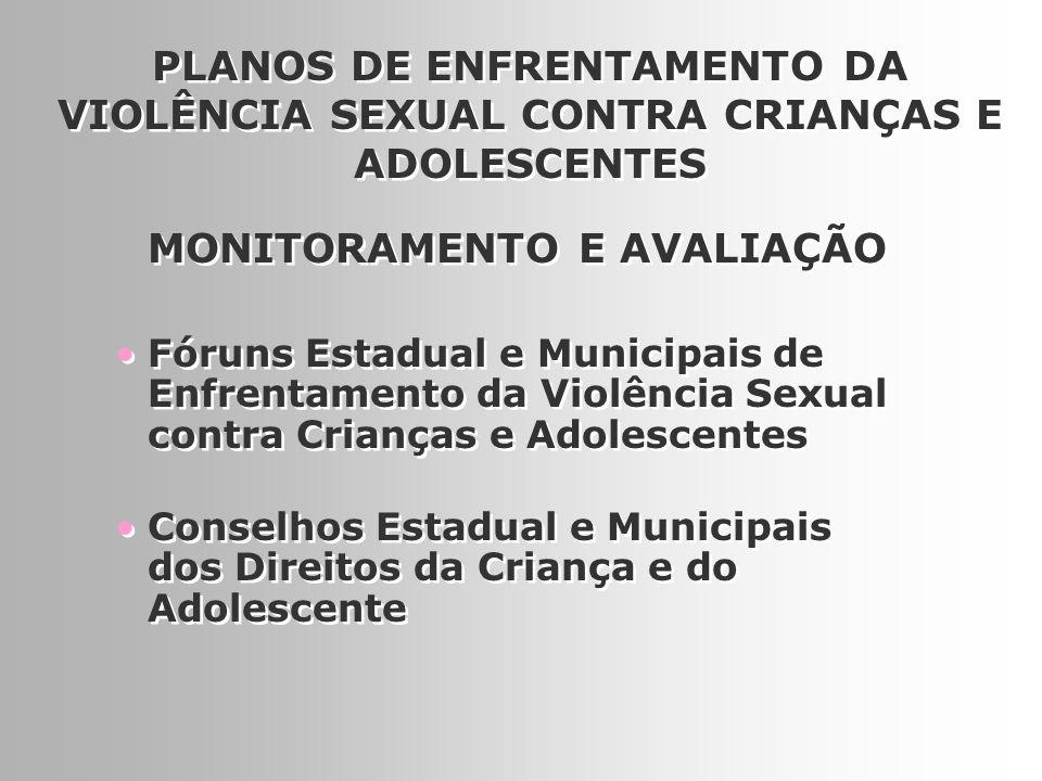 16 Fóruns Estadual e Municipais de Enfrentamento da Violência Sexual contra Crianças e Adolescentes PLANOS DE ENFRENTAMENTO DA VIOLÊNCIA SEXUAL CONTRA