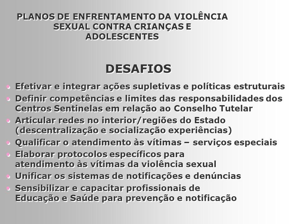 17 PLANOS DE ENFRENTAMENTO DA VIOLÊNCIA SEXUAL CONTRA CRIANÇAS E ADOLESCENTES Efetivar e integrar ações supletivas e políticas estruturais Definir com