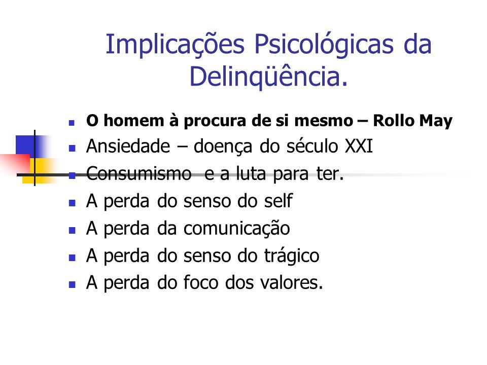 Implicações Psicológicas da Delinqüência. O homem à procura de si mesmo – Rollo May Ansiedade – doença do século XXI Consumismo e a luta para ter. A p