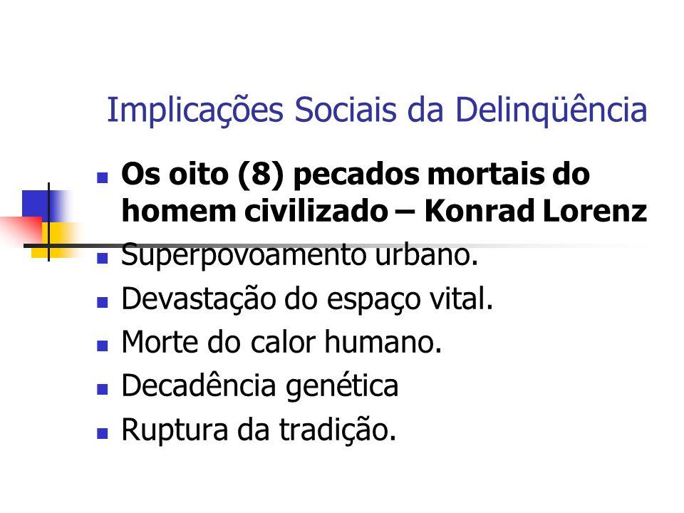 Implicações Sociais da Delinqüência Os oito (8) pecados mortais do homem civilizado – Konrad Lorenz Superpovoamento urbano. Devastação do espaço vital