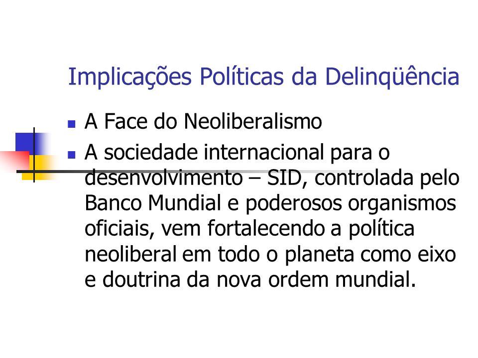 Implicações Políticas da Delinqüência A Face do Neoliberalismo A sociedade internacional para o desenvolvimento – SID, controlada pelo Banco Mundial e