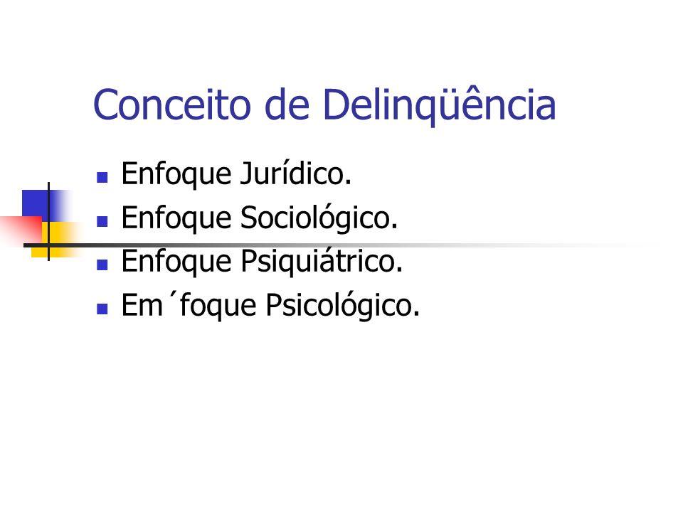 Conceito de Delinqüência Enfoque Jurídico. Enfoque Sociológico. Enfoque Psiquiátrico. Em´foque Psicológico.