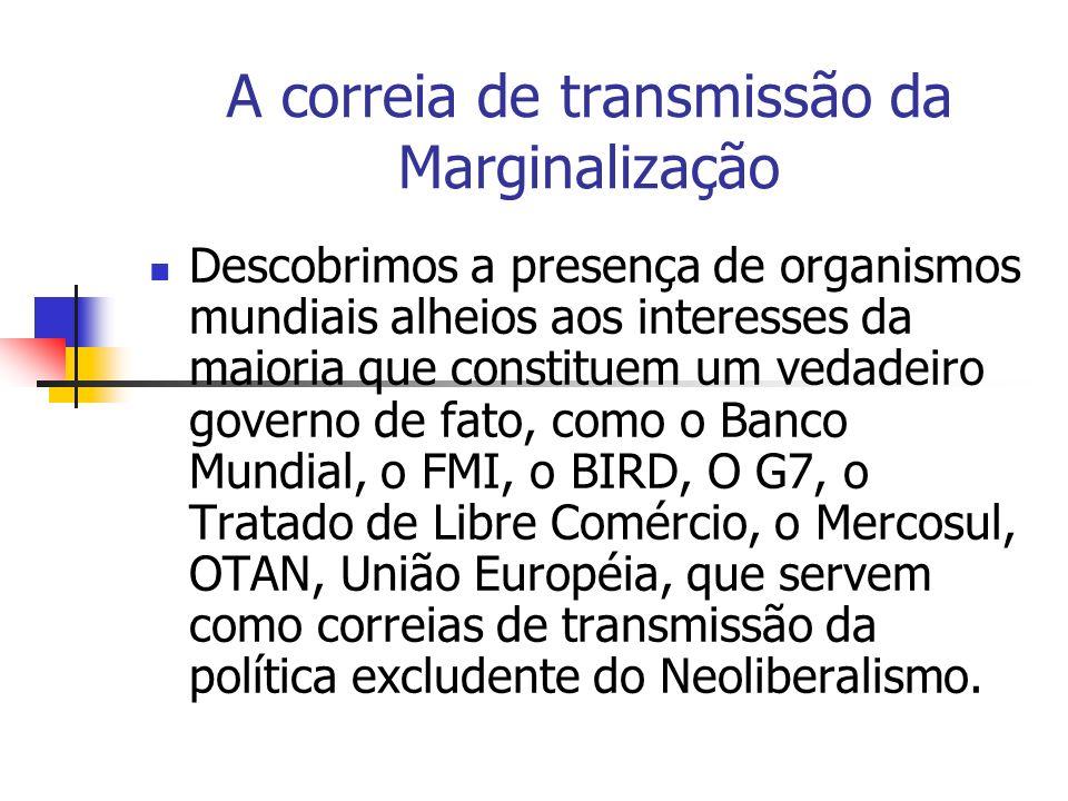 A correia de transmissão da Marginalização Descobrimos a presença de organismos mundiais alheios aos interesses da maioria que constituem um vedadeiro