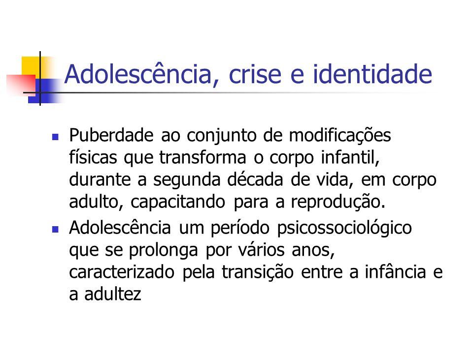 Adolescência, crise e identidade Puberdade ao conjunto de modificações físicas que transforma o corpo infantil, durante a segunda década de vida, em c