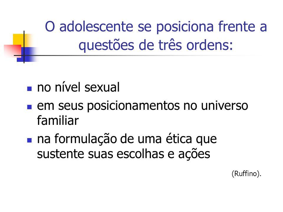 O adolescente se posiciona frente a questões de três ordens: no nível sexual em seus posicionamentos no universo familiar na formulação de uma ética q
