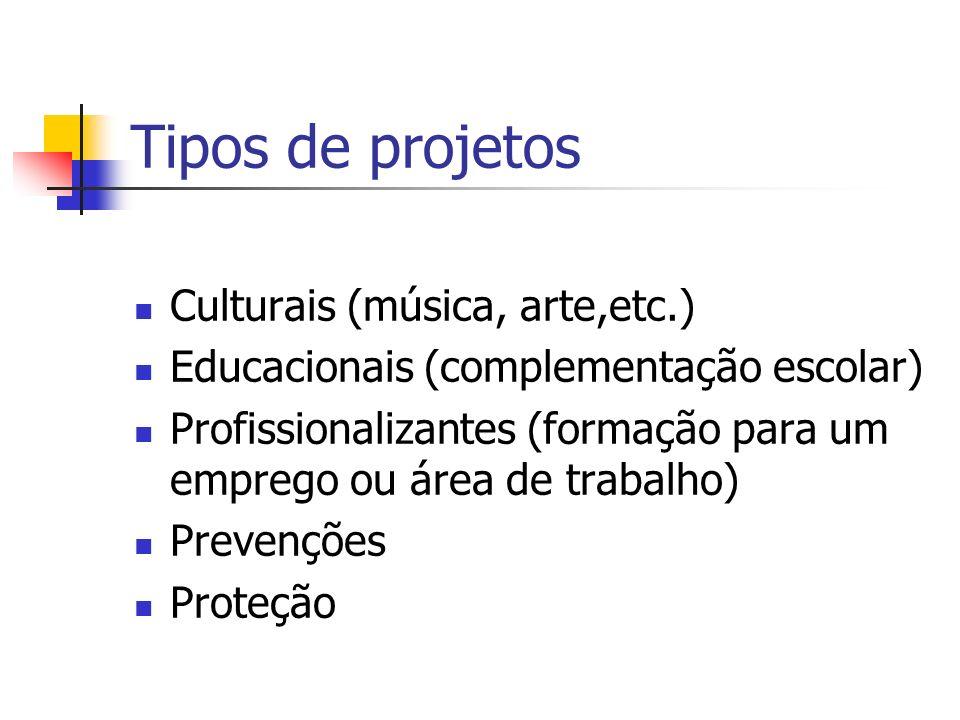 Tipos de projetos Culturais (música, arte,etc.) Educacionais (complementação escolar) Profissionalizantes (formação para um emprego ou área de trabalh