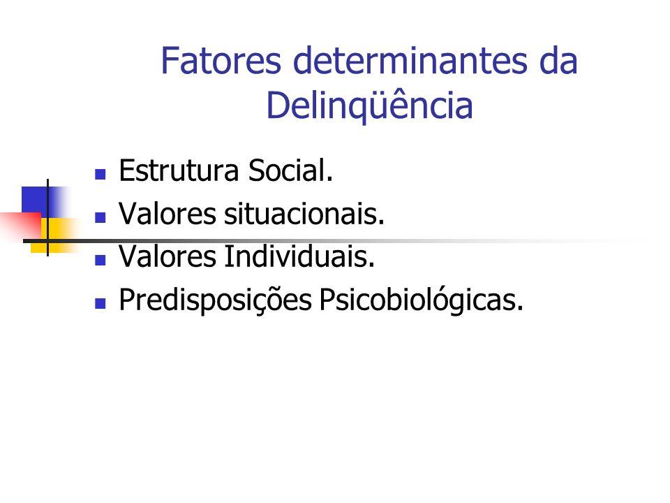 Fatores determinantes da Delinqüência Estrutura Social. Valores situacionais. Valores Individuais. Predisposições Psicobiológicas.