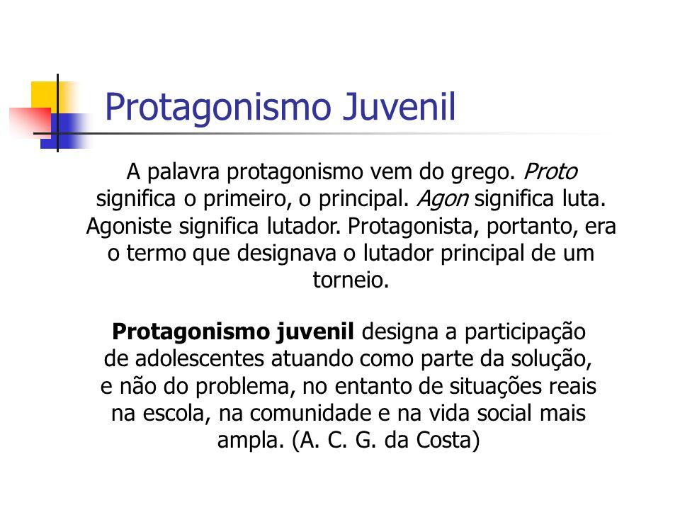 Protagonismo Juvenil A palavra protagonismo vem do grego. Proto significa o primeiro, o principal. Agon significa luta. Agoniste significa lutador. Pr
