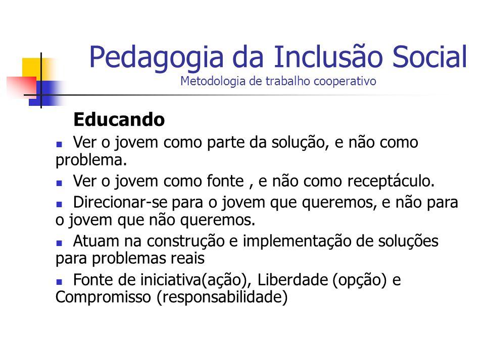 Pedagogia da Inclusão Social Metodologia de trabalho cooperativo Educando Ver o jovem como parte da solução, e não como problema. Ver o jovem como fon