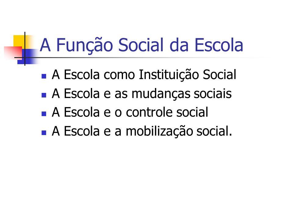 A Função Social da Escola A Escola como Instituição Social A Escola e as mudanças sociais A Escola e o controle social A Escola e a mobilização social