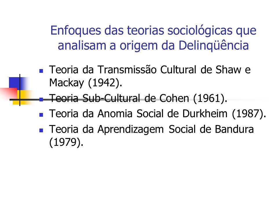 Enfoques das teorias sociológicas que analisam a origem da Delinqüência Teoria da Transmissão Cultural de Shaw e Mackay (1942). Teoria Sub-Cultural de