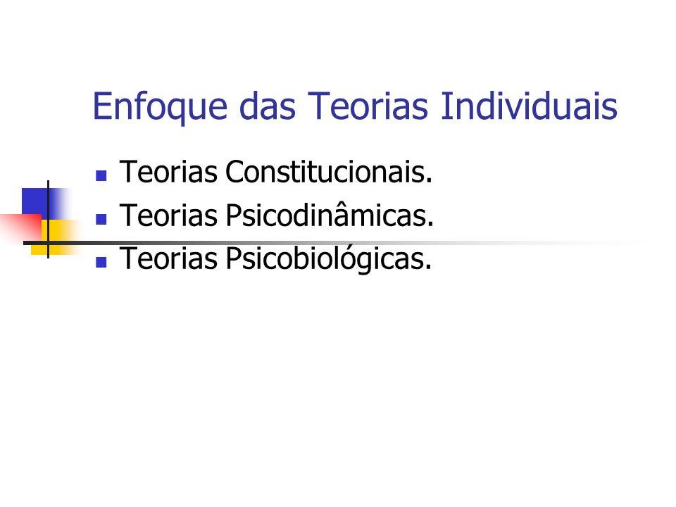 Enfoque das Teorias Individuais Teorias Constitucionais. Teorias Psicodinâmicas. Teorias Psicobiológicas.