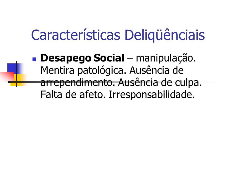 Características Delinqüênciais Estilo de Vida Instável e antissocial – Impulsividade.