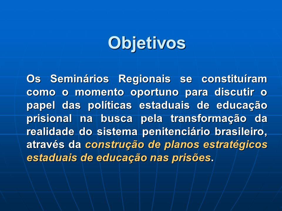 Objetivos Os Seminários Regionais se constituíram como o momento oportuno para discutir o papel das políticas estaduais de educação prisional na busca