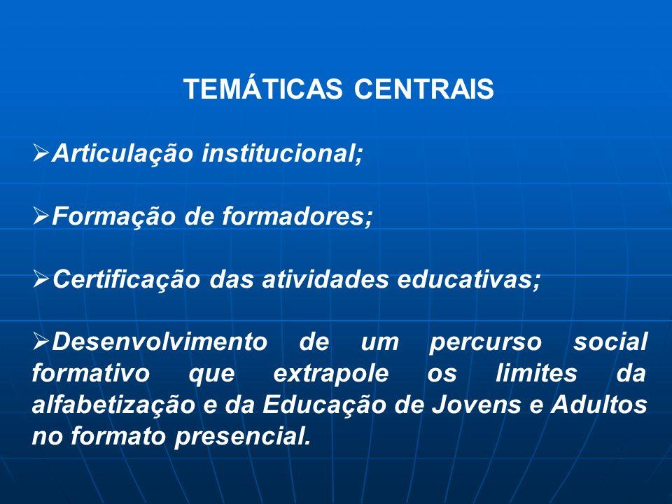 TEMÁTICAS CENTRAIS Articulação institucional; Formação de formadores; Certificação das atividades educativas; Desenvolvimento de um percurso social fo