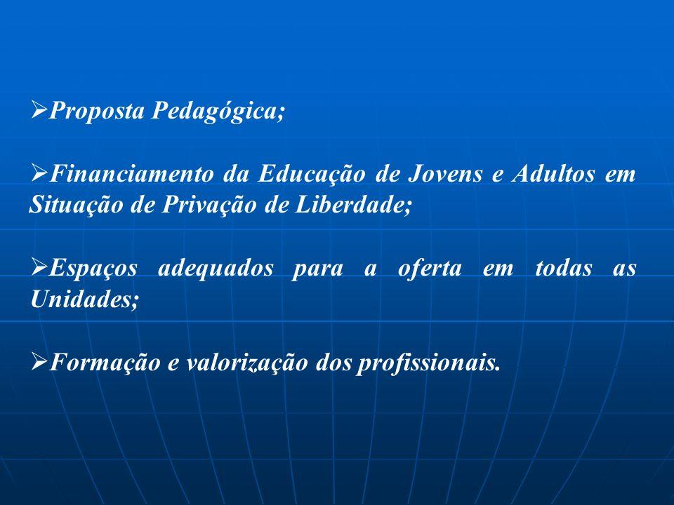 Proposta Pedagógica; Financiamento da Educação de Jovens e Adultos em Situação de Privação de Liberdade; Espaços adequados para a oferta em todas as U