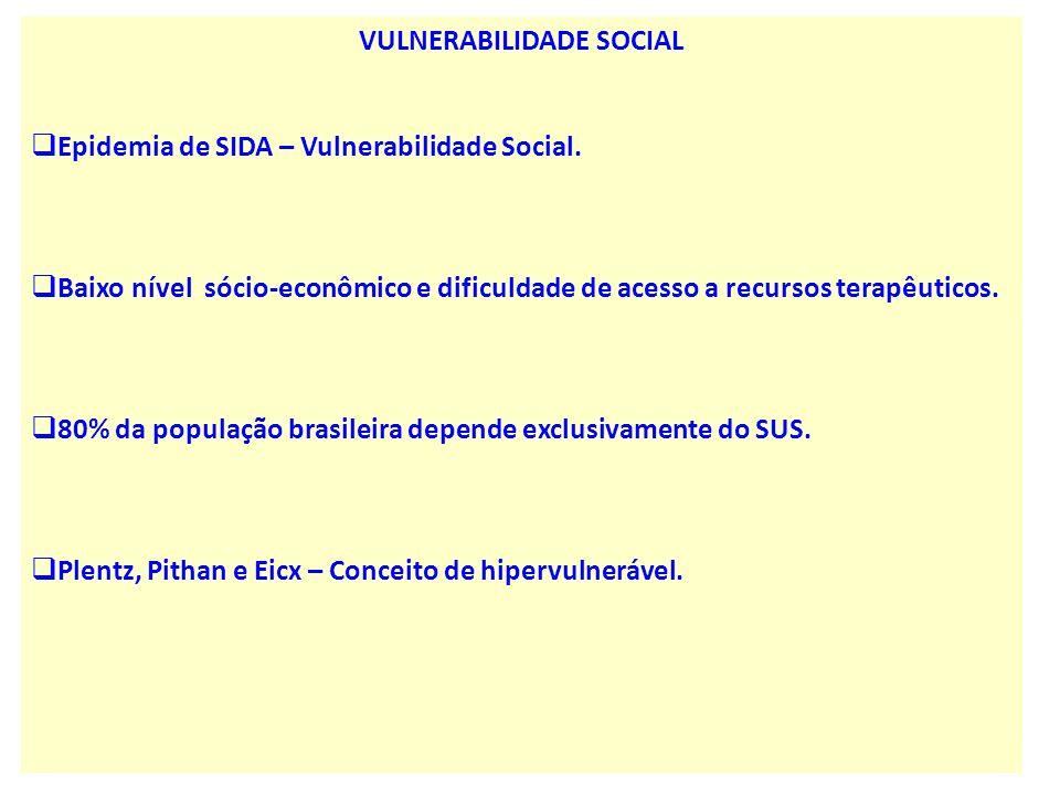 VULNERABILIDADE SOCIAL Epidemia de SIDA – Vulnerabilidade Social. Baixo nível sócio-econômico e dificuldade de acesso a recursos terapêuticos. 80% da