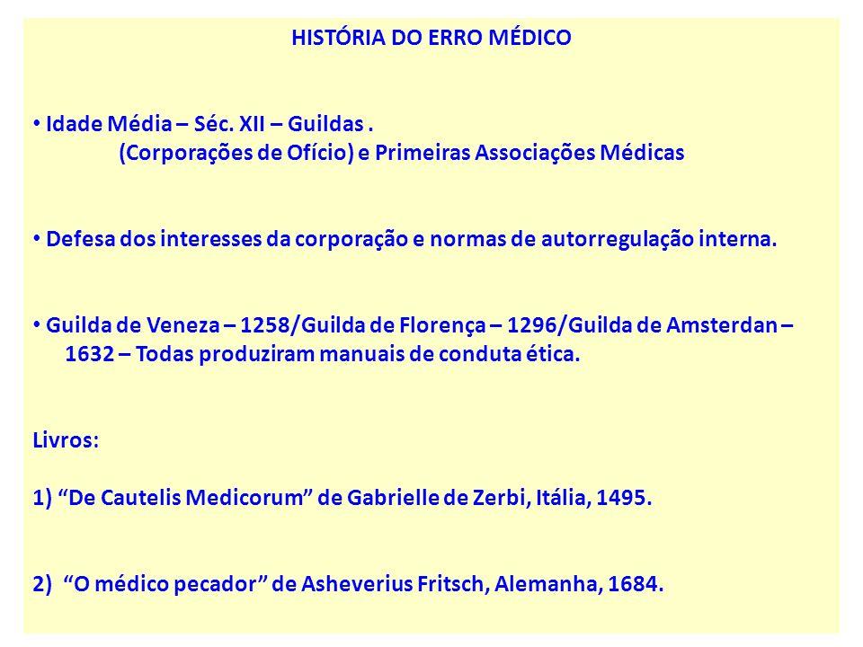 HISTÓRIA DO ERRO MÉDICO Idade Média – Séc. XII – Guildas. (Corporações de Ofício) e Primeiras Associações Médicas Defesa dos interesses da corporação