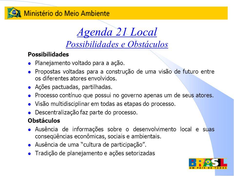 Agenda 21 Local Possibilidades e Obstáculos Possibilidades l Planejamento voltado para a ação. l Propostas voltadas para a construção de uma visão de