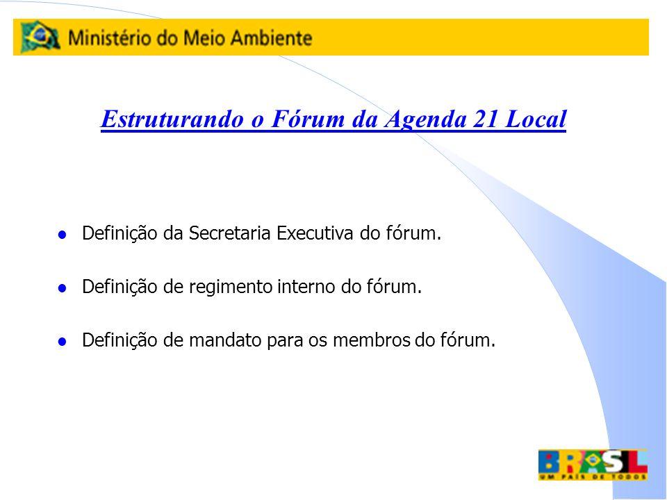 Estruturando o Fórum da Agenda 21 Local l Definição da Secretaria Executiva do fórum. l Definição de regimento interno do fórum. l Definição de mandat