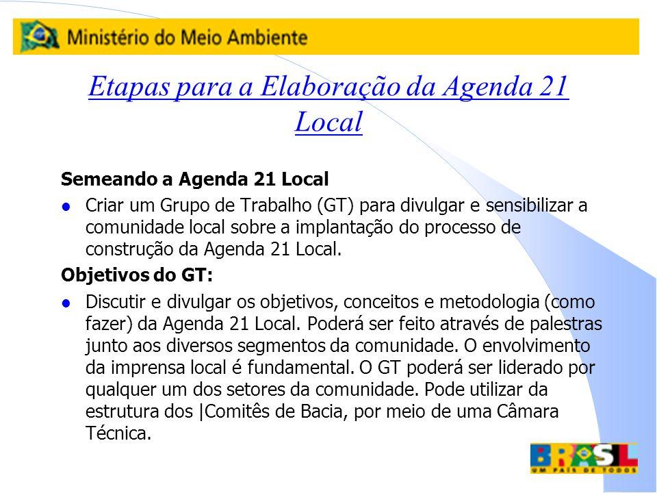 Etapas para a Elaboração da Agenda 21 Local Semeando a Agenda 21 Local l Criar um Grupo de Trabalho (GT) para divulgar e sensibilizar a comunidade loc