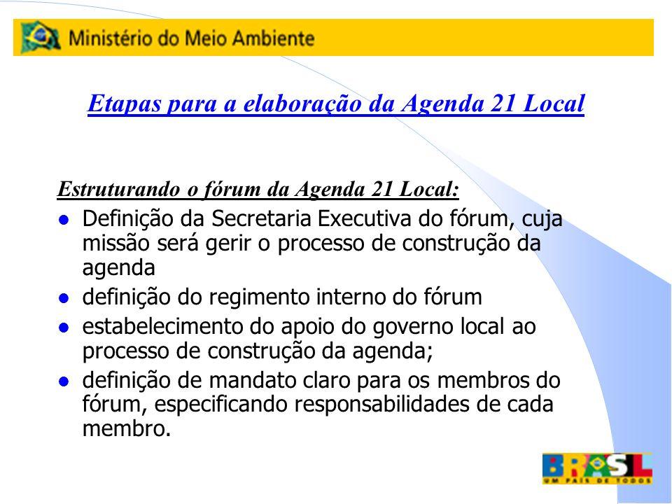 Etapas para a elaboração da Agenda 21 Local Estruturando o fórum da Agenda 21 Local: l Definição da Secretaria Executiva do fórum, cuja missão será ge