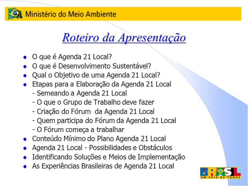 Roteiro da Apresentação l O que é Agenda 21 Local? l O que é Desenvolvimento Sustentável? l Qual o Objetivo de uma Agenda 21 Local? l Etapas para a El