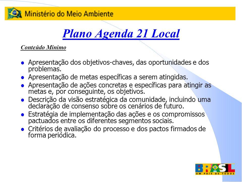 Plano Agenda 21 Local Conteúdo Mínimo l Apresentação dos objetivos-chaves, das oportunidades e dos problemas. l Apresentação de metas específicas a se