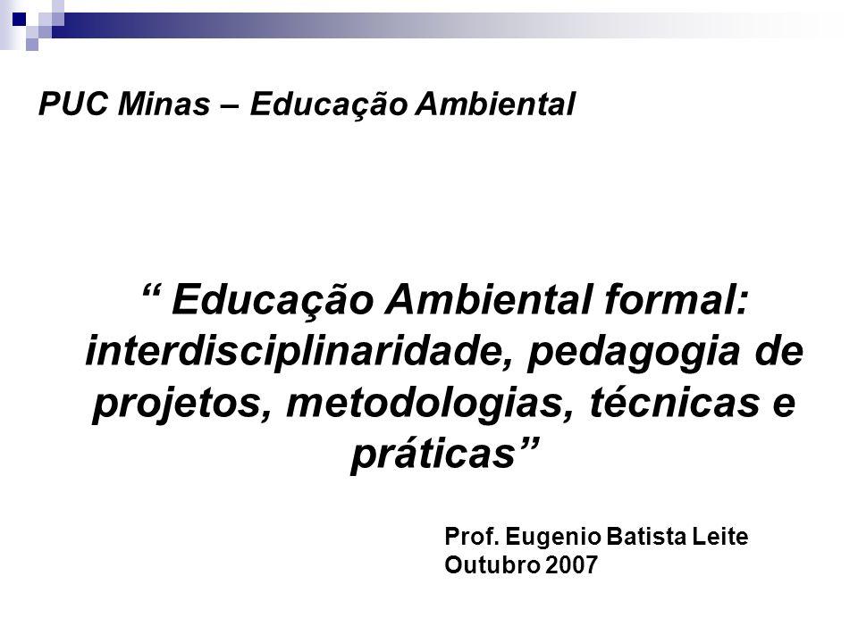 Prof. Eugenio Batista Leite Outubro 2007 Educação Ambiental formal: interdisciplinaridade, pedagogia de projetos, metodologias, técnicas e práticas PU
