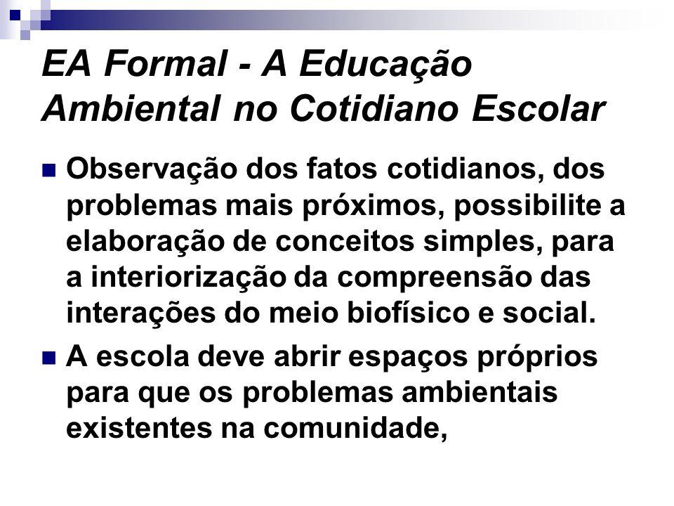 EA Formal - A Educação Ambiental no Cotidiano Escolar Observação dos fatos cotidianos, dos problemas mais próximos, possibilite a elaboração de concei