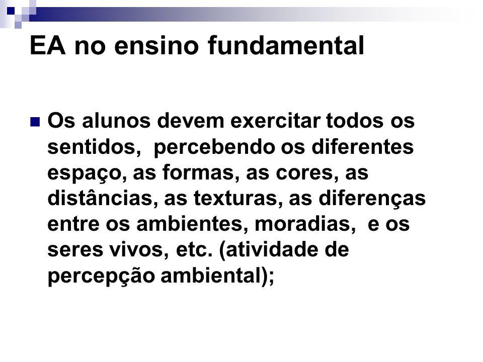 EA no ensino fundamental Os alunos devem exercitar todos os sentidos, percebendo os diferentes espaço, as formas, as cores, as distâncias, as texturas