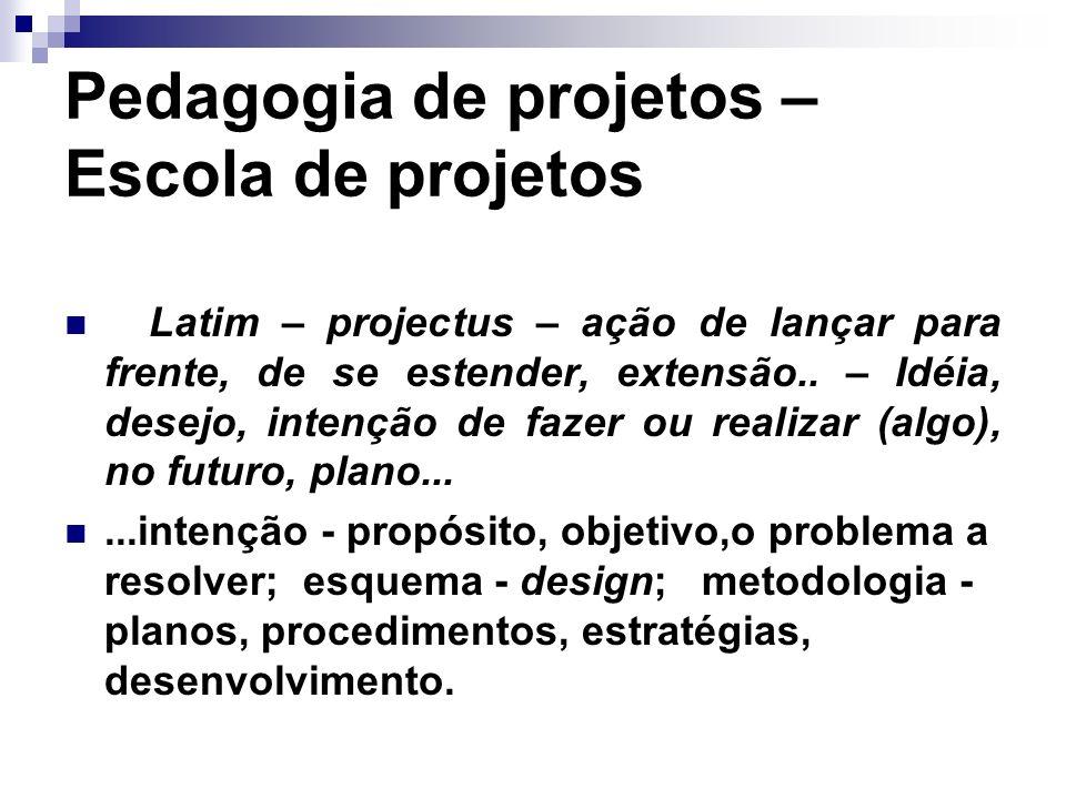 Pedagogia de projetos – Escola de projetos Latim – projectus – ação de lançar para frente, de se estender, extensão.. – Idéia, desejo, intenção de faz