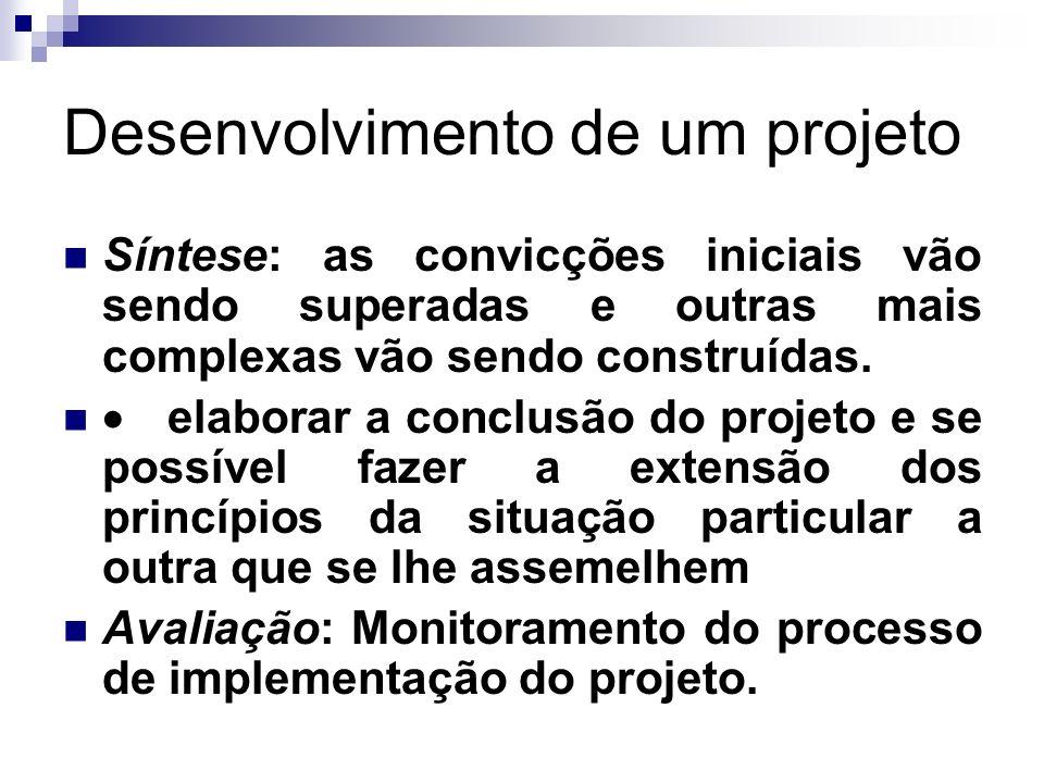 Desenvolvimento de um projeto Síntese: as convicções iniciais vão sendo superadas e outras mais complexas vão sendo construídas. elaborar a conclusão