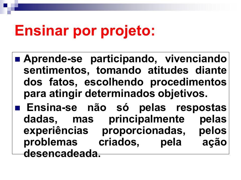 Ensinar por projeto: Aprende-se participando, vivenciando sentimentos, tomando atitudes diante dos fatos, escolhendo procedimentos para atingir determ