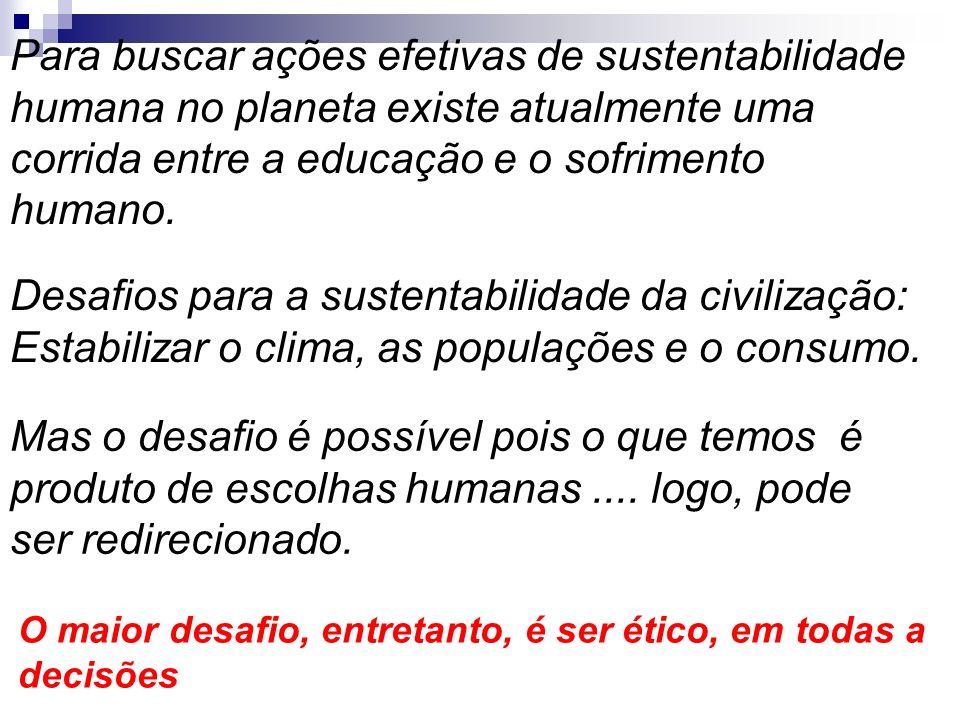 Para buscar ações efetivas de sustentabilidade humana no planeta existe atualmente uma corrida entre a educação e o sofrimento humano. Mas o desafio é