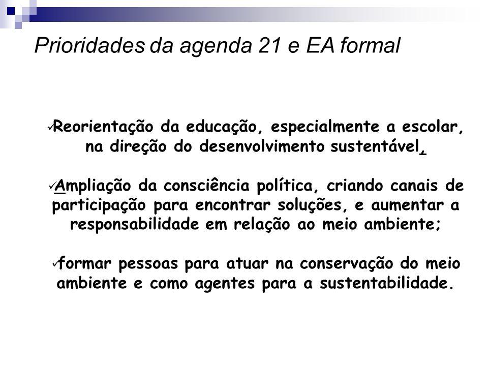 Reorientação da educação, especialmente a escolar, na direção do desenvolvimento sustentável, Ampliação da consciência política, criando canais de par