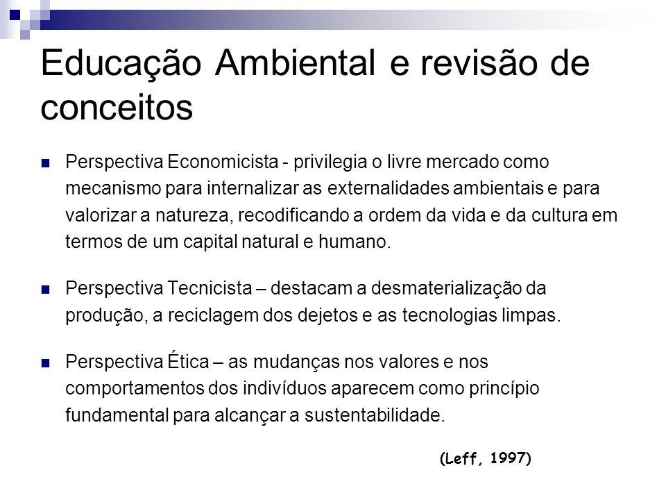 Educação Ambiental e revisão de conceitos Perspectiva Economicista - privilegia o livre mercado como mecanismo para internalizar as externalidades amb