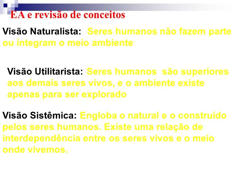 Visão Naturalista: Seres humanos não fazem parte ou integram o meio ambiente EA e revisão de conceitos Visão Sistêmica: Engloba o natural e o construí