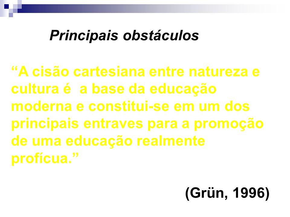 A cisão cartesiana entre natureza e cultura é a base da educação moderna e constitui-se em um dos principais entraves para a promoção de uma educação