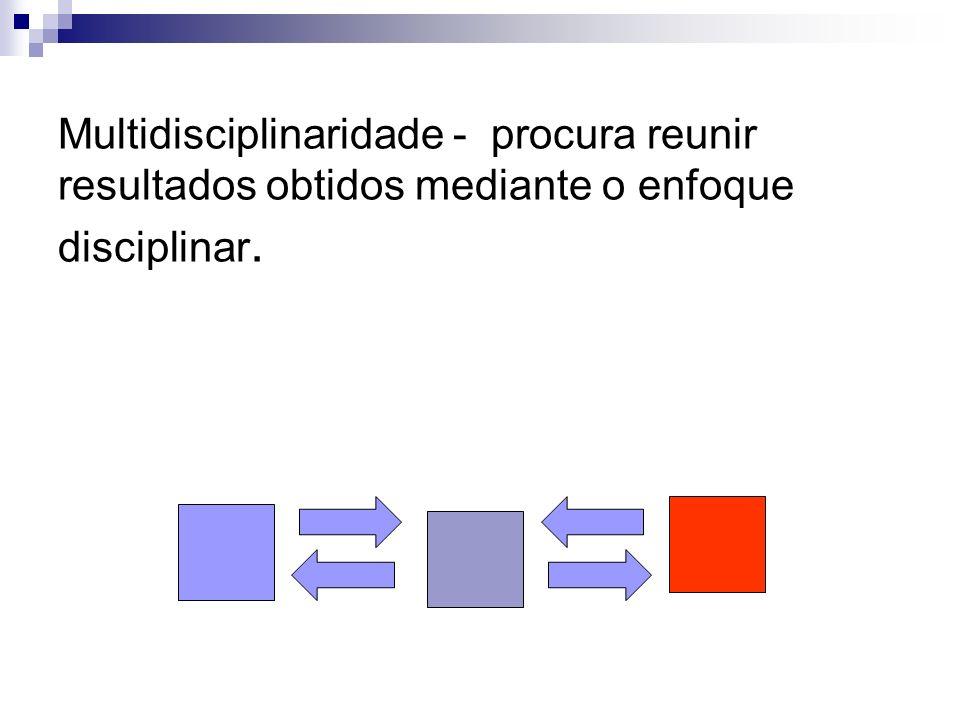 Multidisciplinaridade - procura reunir resultados obtidos mediante o enfoque disciplinar.