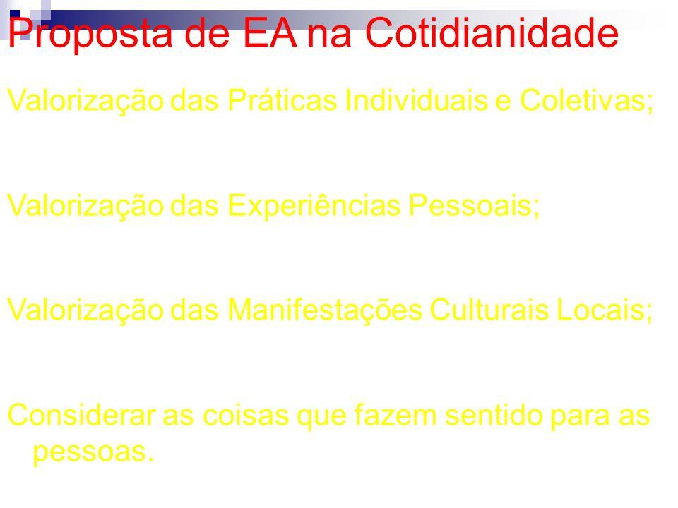 Proposta de EA na Cotidianidade Valorização das Práticas Individuais e Coletivas; Valorização das Experiências Pessoais; Valorização das Manifestações