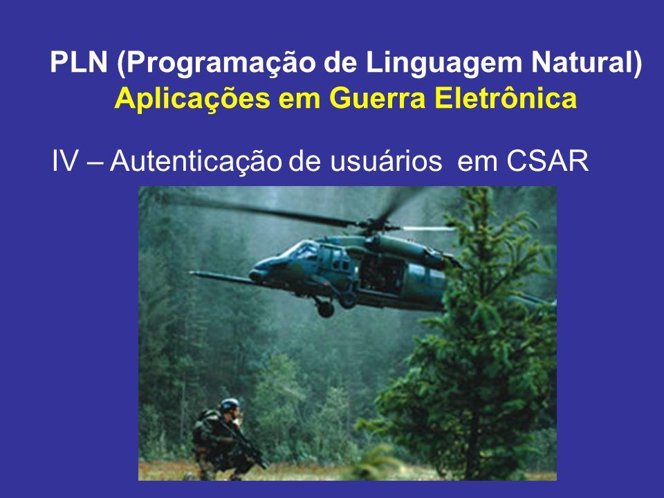 PLN (Programação de Linguagem Natural) Aplicações em Guerra Eletrônica IV – Autenticação de usuários em CSAR