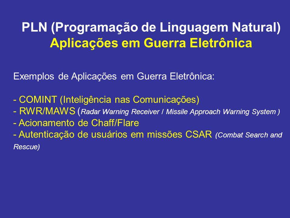 PLN (Programação de Linguagem Natural) Aplicações em Guerra Eletrônica Exemplos de Aplicações em Guerra Eletrônica: - COMINT (Inteligência nas Comunic