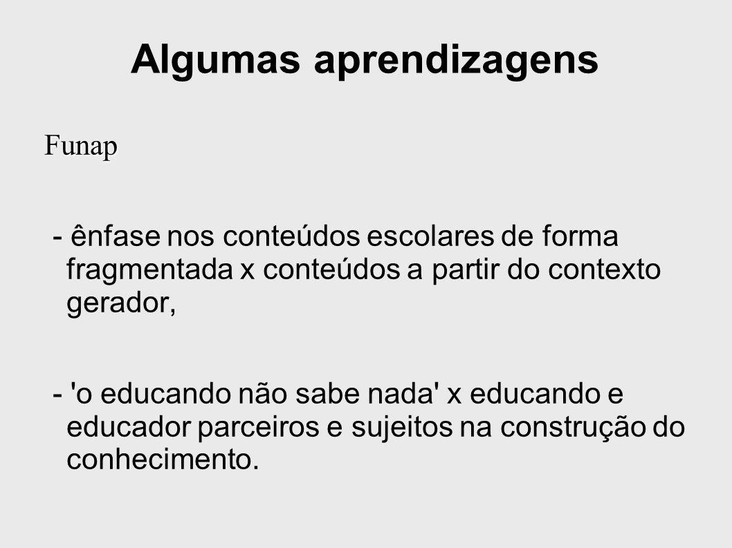 Algumas aprendizagens Funap - ênfase nos conteúdos escolares de forma fragmentada x conteúdos a partir do contexto gerador, - o educando não sabe nada x educando e educador parceiros e sujeitos na construção do conhecimento.