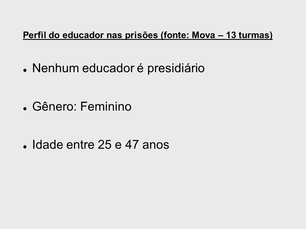Perfil do educador nas prisões (fonte: Mova – 13 turmas) Nenhum educador é presidiário Gênero: Feminino Idade entre 25 e 47 anos