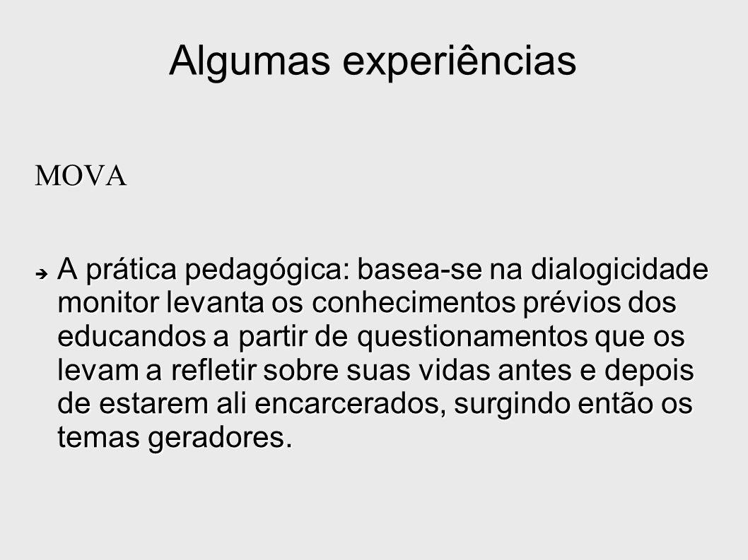 Algumas experiências MOVA A prática pedagógica: basea-se na dialogicidade monitor levanta os conhecimentos prévios dos educandos a partir de questiona