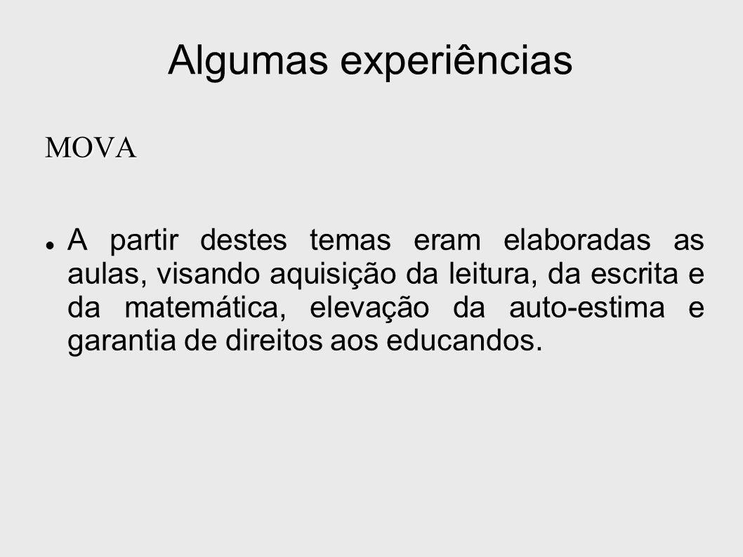 Algumas experiências MOVA A partir destes temas eram elaboradas as aulas, visando aquisição da leitura, da escrita e da matemática, elevação da auto-e