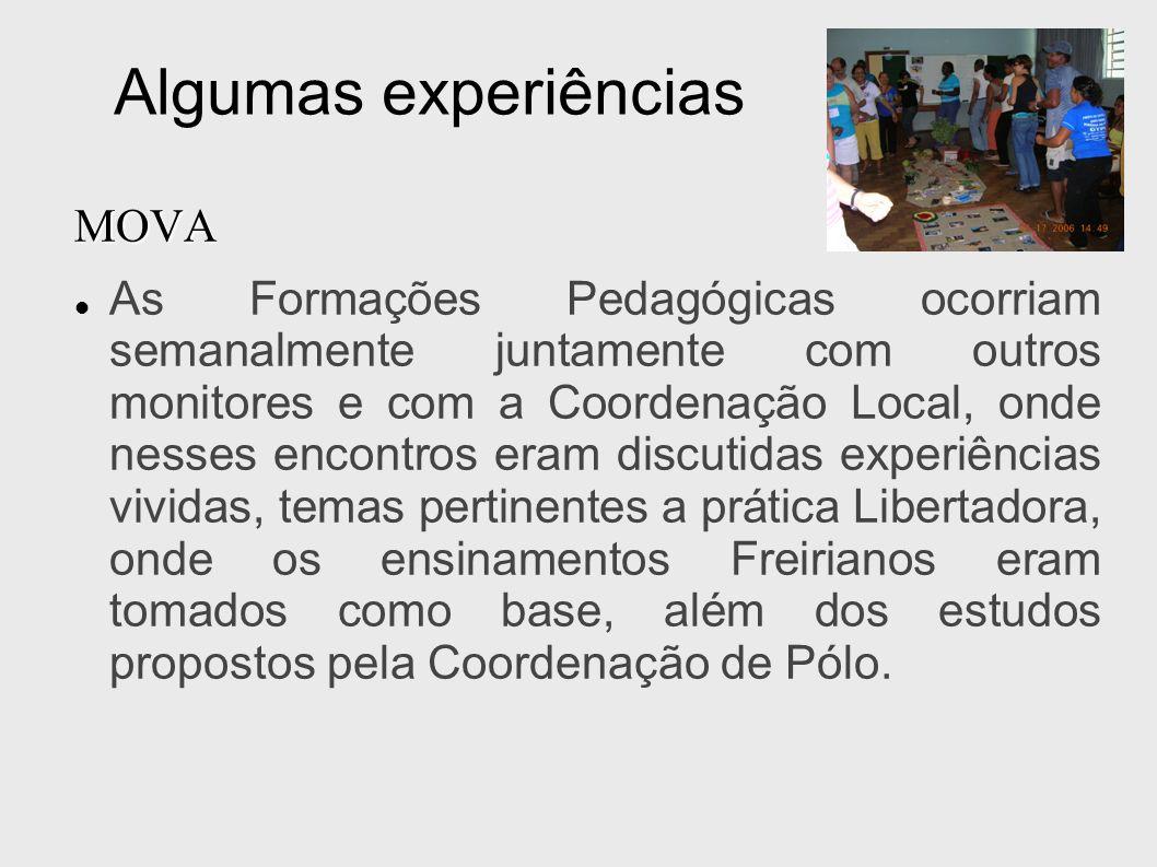 Algumas experiências MOVA As Formações Pedagógicas ocorriam semanalmente juntamente com outros monitores e com a Coordenação Local, onde nesses encont