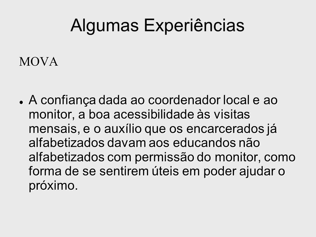Algumas Experiências MOVA A confiança dada ao coordenador local e ao monitor, a boa acessibilidade às visitas mensais, e o auxílio que os encarcerados